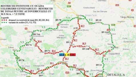 Restricții de tonaj în zona Alba Iulia de 1 decembrie