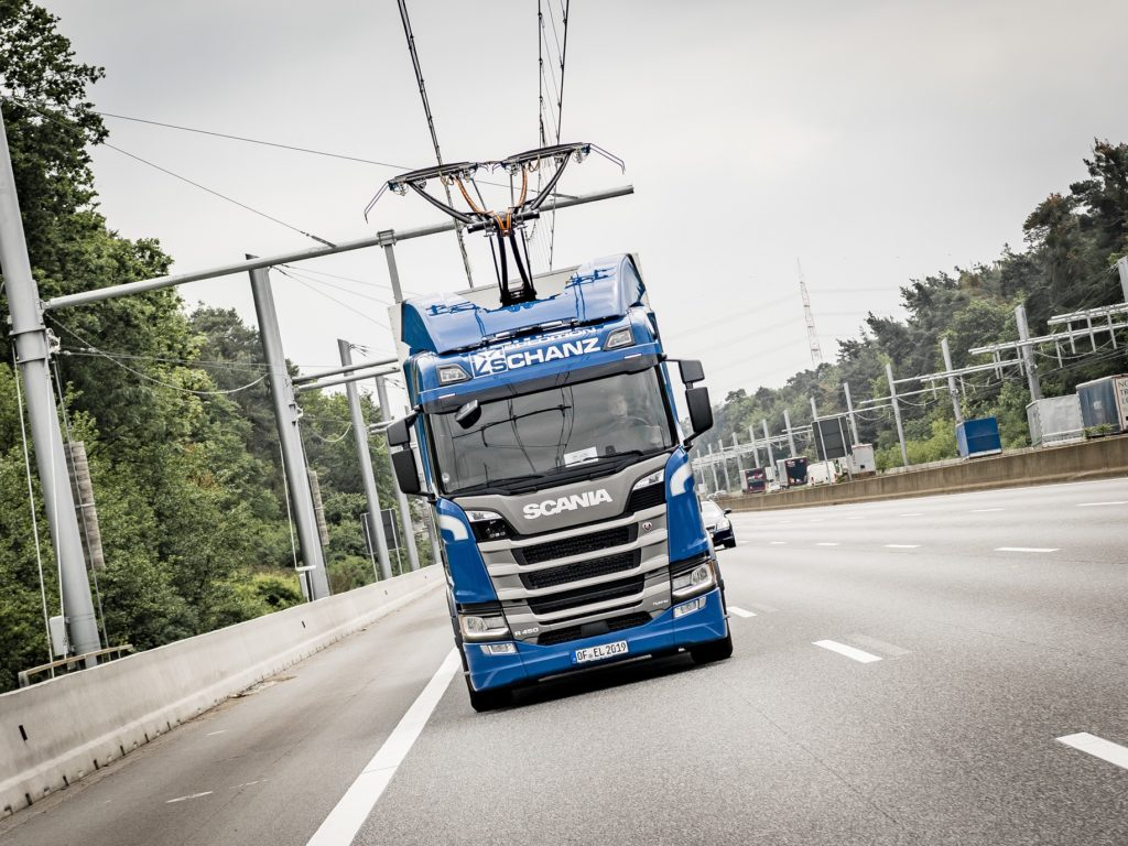 Spedition Schanz Scania R 450 Hybrid eHighway