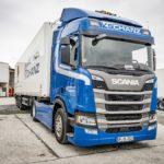 Spedition Schanz Scania R 450 Hybrid pantograf coborat