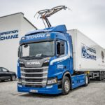 Spedition Schanz Scania R 450 Hybrid pantograf ridicat