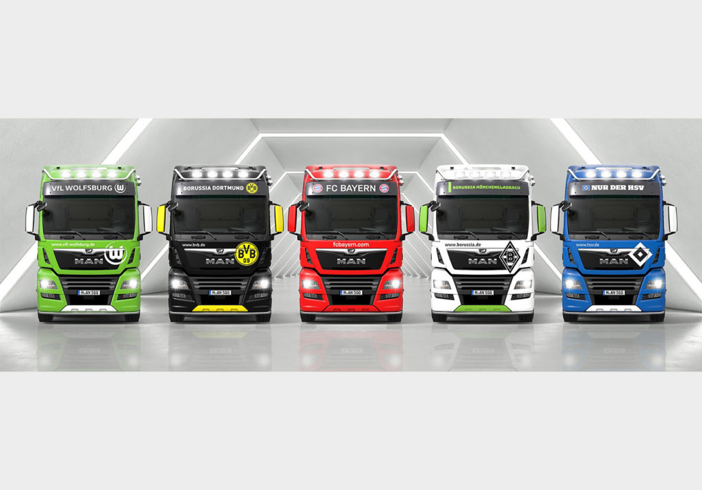 Ediții speciale MAN TGX în culorile a 5 echipe de fotbal