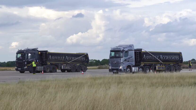 Video: Cursă în linie dreaptă Mercedes vs Scania, cu 44 de tone