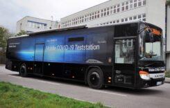 Stație mobilă de testare pentru coronavirus într-un autobuz Setra