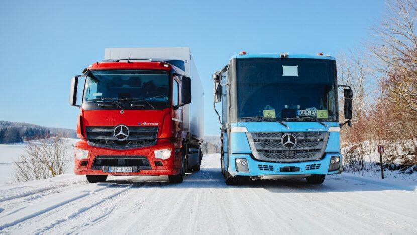 Teste de iarnă cu camioanele electrice eActros și eEconic